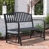 Sunnydaze Outdoor Garden Bench 50 Inch  Metal Glider Patio Seat  Black - B071RR48FD