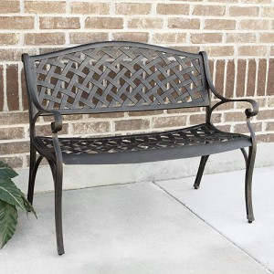 WE Furniture 42 Cast Aluminum Wicker Style Outdoor Bench - B073C661WP