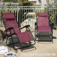 2 Folding Zero Gravity Reclining Lounge Chairs Utility Tray Outdoor Beach Patio Burgundy - B018UJ68D0