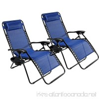 2 Pack Adjustable Folding Zero Gravity Recliner Chairs Lounge Deck Chair With Pillow & Cup Holder for Patio Outdoor Yard Beach (Blue) - B01M0LAWEA