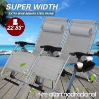 "22.8"" Oversized Width Seat 350LBS Capacity Set of 2 Pack Zero Gravity Outdoor Lounge Chair w/Cup Holder with Mobile Device Slot Adjustable Folding Patio Reclining Chair W/Snack Tray - B07CYRXYK9"