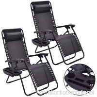2PC Zero Gravity Chairs Lounge Patio Folding Recliner Outdoor Black W/Cup Holder - B078MTJ1PK