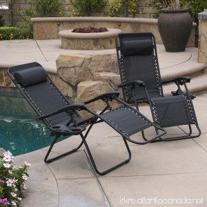 Belleze Set of (2PC) Zero Gravity Chair Lounge Chairs Pillow UV Recliner Chairs w/Cup Holder Tray Black - B0170TOUAO