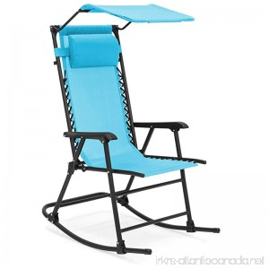 Best Choice Products Foldable Zero Gravity Rocking Patio Chair w/Sunshade Canopy - Blue - B07934SPN5