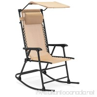 Best Choice Products Foldable Zero Gravity Rocking Patio Chair w/Sunshade Canopy - Tan - B079336P66