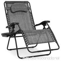 Best Choice Products Oversized Zero Gravity Outdoor Reclining Lounge Patio Chair w/Cup Holder - Gray - B07935RF2J