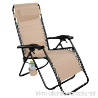 Giantex Light Brown Folding Zero Gravity Reclining Lounge Chairs Outdoor Beach Patio Yard New - B01G30TL2I