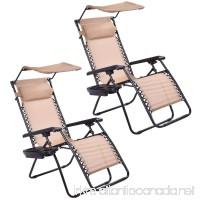 Goplus Zero Gravity Canopy Sunshade Lounge Chair Cup Holder Patio Outdoor Garden Beige (2) - B01J5DJZ9E