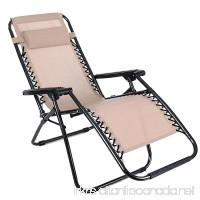 Pagacat Zero Gravity Lounge Chair Oversized Heavy Duty Lawn Reclining Chairs for Outdoor Patio Beach[US Stock] (Khaki) - B07BDJZHXX