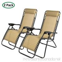 PARTYSAVING 2-Piece Infinity Zero Gravity Outdoor Lounge Patio Folding Reclining Chair  Tan - B0131L5KY0