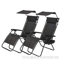 PayLessHere Zero Gravity Chairs 2 Set Lounge Patio Chairs with canopy Cup Holder - B01IKURF8G