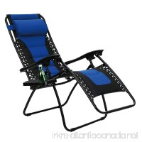 PHI VILLA Padded Zero Gravity Lounge Chair Patio Foldable Adjustable Reclining with Cup Holder for Outdoor Yard Porch Blue - B077JS1BH9