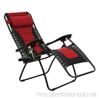 PHI VILLA Padded Zero Gravity Lounge Chair Patio Foldable Adjustable Reclining with Cup Holder for Outdoor Yard Porch Red - B077JRC613