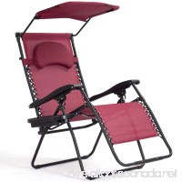 Red Wine Foldable Recliner Lounge Chair Zero Gravity Fabric Seat w/Shade Canopy & Removable Cup Holder - B07CT2MRKF