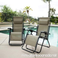 Zero Gravity Reclining Outdoor Lounge Chair 2-pack (Beige) - B0725XPP69