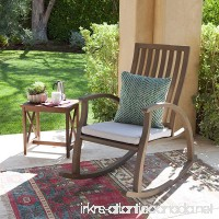 Caleb Outdoor Acacia Wood Rocking Chair with Water Resistant Cushion (Grey Finish/Grey) - B075BWCKLH