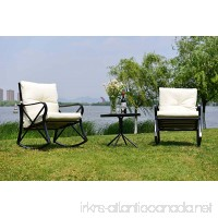 Feelway Outdoor 3 Pcs Rocking Chair Patio Wicker Furniture Bistro Set With Two Chairs One Table Cushioned (PVC Belt) - B07D79LJKN