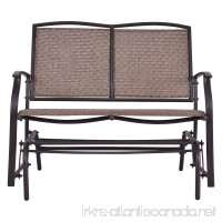 Globe House Products GHP 2-Person Brown Steel & Textilene Patio Glider Rocking Bench Loveseat Chair - B07C387PV2