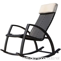 Grand patio Weather Resistant Wicker Rocking Chair with Breathable Headrest and Wood Grain Painted Armrests  Aluminum Frame Outdoor Rocking Chair  Dark Brown - B00ZTOBD4E