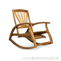 Great Deal Furniture Alva Outdoor Acacia Wood Rocking Chair with Footrest Teak Finish - B07DN4M97V