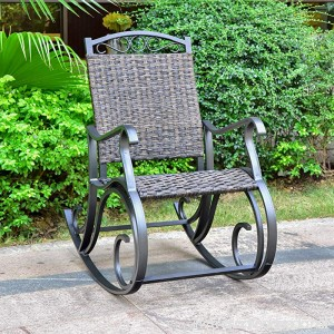 International Caravan Ibiza Resin Pandan Aluminum Rocking Chair - Dark Coffee - B07CN5KTN2
