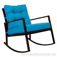 Kinbor Rattan Rocker Chair Outdoor Garden Rocking Chair Wicker Lounge w/Cushion (Blue) - B076ZF9KT2