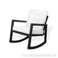 SunBear Furniture Resin Outdoor Garden Rocking Chair w/cushion Deck Yard Patio Wicker Black - B071ZNH3TZ