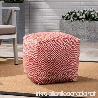 Great Deal Furniture Alston Outdoor Modern Boho Pouf Ivory with Red - B07CM18FZ1