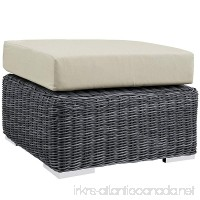 Modway Summon Outdoor Patio Ottoman With Sunbrella Brand Antique Beige Canvas Cushions - B0179BZMV4