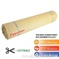Fence4ever 8ft x 25ft 8' x 25' Tan Beige Sunscreen Sun Shade Fabric Cover Roll 95% Uv Block - B015VOZDKG