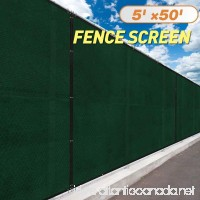 JAXPETY 5' x 50'Heavy Duty Privacy Screen Fence Windscreen Shade Fabric Mesh Tarp copper grommets 130 GSM 88% Blockage Dark Green - B0761MYW6P