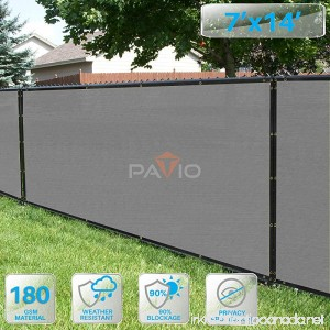 PATIO Fence Privacy Screen 7' x 14' Pergola Shade Cover Canopy Sun Block Heavy Duty Fence Privacy Netting Commercial Grade Privacy Fencing 180 GSM 90% Privacy Blockage (Light Gray) - B07F1YMC7H