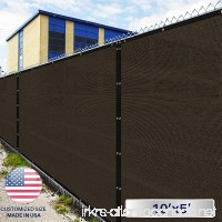 Windscreen4less Fence Privacy Screen 10' x 5' Brown Pergola Shade Cover Patio Canopy Sun Block 180 GSM 95% privacy Blockage Mesh Fabric with brass Gromment Customized Sizes Available - B07CYM42QL
