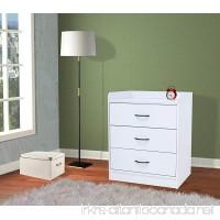 Kings Brand Furniture Jericho White Wood 3 Drawer Chest - B079G4YCKZ