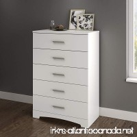 South Shore Gramercy 5-Drawer Dresser Pure White with Brushed Nickel Handles - B072JKSD6Q
