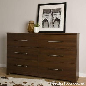 South Shore Primo 6-Drawer Double Dresser Brown Walnut - B01D9MW7WY