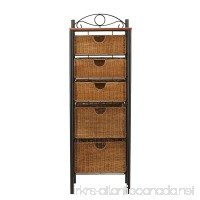 Southern Enterprises 5 Drawer Storage Unit with Wicker Baskets Black and Caramel Finish - B000X09XGE