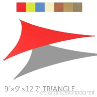 Alion Home 9' x 9' x 12.7' Right Triangle PU Waterproof Woven Sun Shade Sail (1  Tomato Red) - B07993KKNW