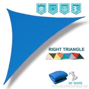 Coarbor 12'x12'x17' Right Triangle Blue UV Block Sun Shade Canopy Perfect for Patio Yard Deck Outdoor Garden-Customized - B079MG98S6