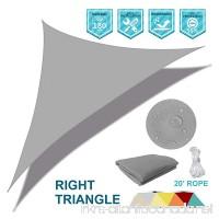 Coarbor Waterproof UV Block 16'x16'x23' Right Triangle Light Grey Sun Shade Sail Canopy Triangle 180 GSM Polyester for Pergola Carport Awning Patio Yard- Customized - B079Q8QJ2J