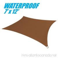 ColourTree 100% BLOCKAGE Waterproof 7' x 12' Sun Shade Sail Canopy Rectangle Coffee Brown- Commercial Standard Heavy Duty - 220 GSM - 4 Years Warranty (1) - B073CJ6N94