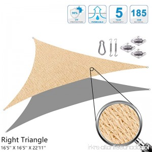 Cool Area Right Triangle 16'5'' X 16'5'' X 22'11'' Sun Shade Sail with Stainless Steel Hardware Kit UV Block Fabric Patio Patio Shade Sail in Color Sand - B00J2KAXWE
