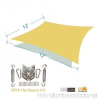 CosCool Sun Shade Sail Rectangle Fabric Patio Shade Sails Canopy 200gsm HDPE Material UV Block 5 Years Warranty with Stailnless Steel Hardware Kit  Size 12x12 Feet - B01N4FLW7P