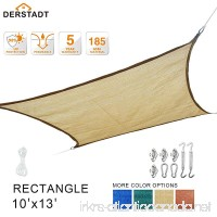 Derstadt 10' x 13' Rectangle Sun Shade Sail with Stainless Steel Hardware Kit  Outdoor Patio Canopy Backyard 90+ UV Block Shelter (5 Years Warranty) (Sand) - B072ML3CGC