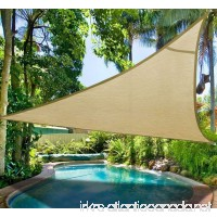 Do4U Oversized Triangle Garden Patio Shade Sun Sail UV Block Fabric with Steel D-rings Triangle Sand (20x20x20ft  sand) - B06XGXKJ8L