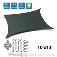 DOEWORKS Rectangle 10' X 13' Sun Shade Sail with Stainless Steel Hardware Kit  UV Block for Outdoor Patio Garden  Green - B0779NYHK9