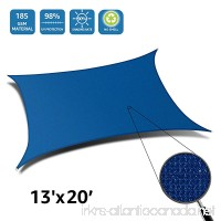 DOEWORKS Rectangle 13' X 20' Sun Shade Sail UV Block for Outdoor Patio Garden Facility and Activities Blue - B0779PSX71