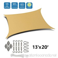 DOEWORKS Rectangle 13' X 20' Sun Shade Sail with Stainless Steel Hardware Kit  Idea for Outdoor Patio  Sand - B0779PYV8Q