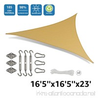 DOEWORKS Triangle 16'5'' Sun Shade Sail with Stainless Steel Hardware Kit Idea for Outdoor Patio Sand - B0779PCQZJ