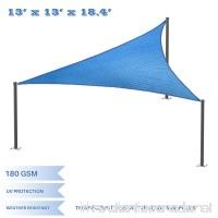 E&K Sunrise 13' x 13' x 18' Right Triangle Sun Shade Sail Shade Fabric Cover Backyard Deck Sail Canopy UV Block - Blue - B077S84LRK